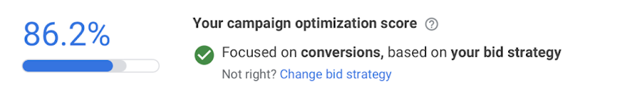 Campaign Goals Highlighted Next to Optimization Score in Google Ads